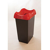 50 Litre Recycling Bin With Grey Body Red Lid & Graphic