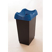 50 Litre Recycling Bin With Grey Body Blue Lid & Graphic