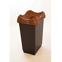 50 Litre Recycling Bin With Grey Body Brown Lid & Graphic