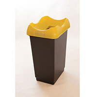 50 Litre Recycling Bin With Grey Body Ywllow Lid & Graphic