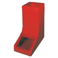 Table Top Storage And Dispense Container Complete With Top Lid And Flap. Fill From The Top Red