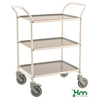 Three Tier Metal Service Trolley White Frame With Anthracite Grey