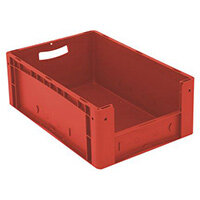 Xl Container 600x400x220 mm (Lxwxh). Solid Sides. Pick Open Front. Red