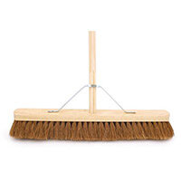 """24"""" Soft Coco Broom Complete With 4'6"""" Wooden Handle & Metal Support Stay"""