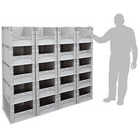 Basicline 600X400X320mm Open End Euro Container