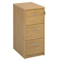 Deluxe Executive 3 Drawer Filing Cabinet In Oak Anti Tilt Fully Locking Supplied With Handles Accepts Foolscap Onl