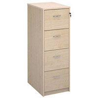 Deluxe Executive 4 Drawer Filing Cabinet In Maple Anti Tilt Fully Locking Supplied With Handles Accepts Foolscap Onl