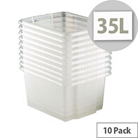 Topstore 35L Clear Storage Boxes No Lids Pack Of 10 Transparent Plastic Containers