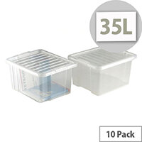 Topstorr 35L Clear Storage Boxes with Lids Pack Of 10 Transparent Plastic Containers