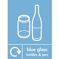 "Recycling Sign ""Blue Glass Bottles"" Self-Adhesive Vinyl 150x200mm"