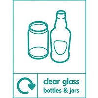 "Recycling Sign ""Clear Glass Bottles"" Self-Adhesive Vinyl 150x200mm"