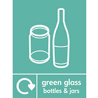 "Recycling Sign ""Green Glass Bottles"" Self-Adhesive Vinyl 150x200mm"