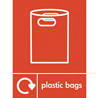 "Recycling Sign ""Plastic Bags"" Self-Adhesive Vinyl 150x200mm"