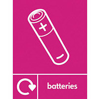 "Recycling Sign ""Batteries"" Self-Adhesive Vinyl 150x200mm"
