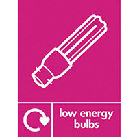 "Recycling Sign ""Low Energy Bulbs"" Self-Adhesive Vinyl 150x200mm"