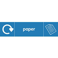 "Recycling Sign ""Paper"" Self-Adhesive Vinyl 350x100mm"