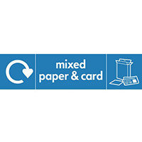 "Recycling Sign ""Mixed Paper"" Self-Adhesive Vinyl 350x100mm"