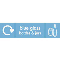 "Recycling Sign ""Blue Glass Bottles"" Self-Adhesive Vinyl 350x100mm"