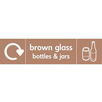 "Recycling Sign ""Brown Glass Bottles"" Self-Adhesive Vinyl 350x100mm"