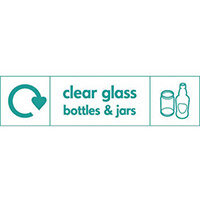 "Recycling Sign ""Clear Glass Bottles"" Self-Adhesive Vinyl 350x100mm"