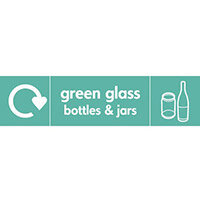 "Recycling Sign ""Green Glass Bottles"" Self-Adhesive Vinyl 350x100mm"