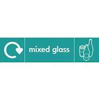 "Recycling Sign ""Mixed Glass"" Self-Adhesive Vinyl 350x100mm"