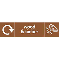 "Recycling Sign ""Wood & Timber"" Self-Adhesive Vinyl 350x100mm"