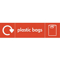 "Recycling Sign ""Plastic Bags"" Self-Adhesive Vinyl 350x100mm"