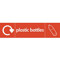 "Recycling Sign ""Plastic Bottles"" Self-Adhesive Vinyl 350x100mm"