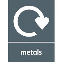 "Recycling Sign ""Metals"" Self-Adhesive Vinyl 150x200mm"