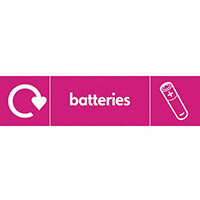 "Recycling Sign ""Batteries"" Self-Adhesive Vinyl 350x100mm"