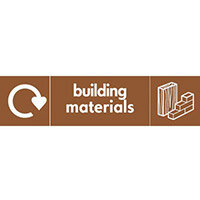 "Recycling Sign ""Building Materials"" Self-Adhesive Vinyl 350x100mm"