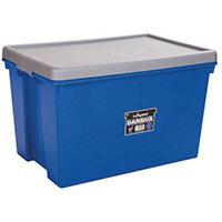Wham Bam 62L Heavy Duty Box & Lid Blue /Silver