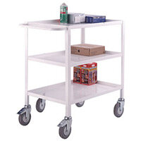 Three Tier Service Trolley With One Handle & Braked Castors