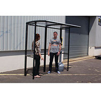 Corfe Open Fronted Smoking Shelter With Clear Roof Freestanding & Tower Bin Black HxWxD mm: 2100x4182x1074