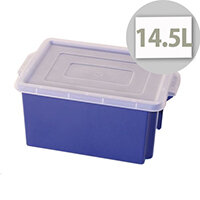 Container 14.5L Plastic In Blue With Opaque Lid