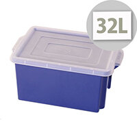 Container 32L Plastic In Blue With Opaque Lid