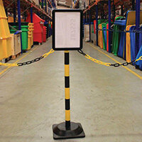 Freestanding Yellow/Black Post With Square Rubber Base And Sign Holder