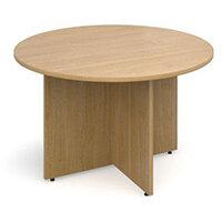 Arrow Head Leg Circular Meeting Table 1200mm Oak