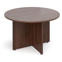 Arrow Head Leg Circular Meeting Table 1200mm Walnut