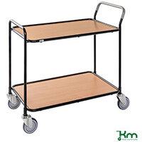 Table Trolley 2 Beech Shelves Black Frame