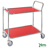 Table Trolley 2 Red Shelves Galvanised Frame Red Shelves Galvanised Frame