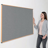 Shield Light Oak Wood Effect Frame Eco-Colour Fire  Resistant Notice Board 600x900 Grey