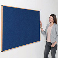 Shield Light Oak Wood Effect Frame Eco-Colour Fire  Resistant Notice Board 900x1200 Blue