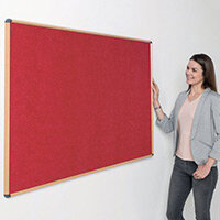 Shield Light Oak Wood Effect Frame Eco-Colour Fire  Resistant Notice Board 900x1200 Red