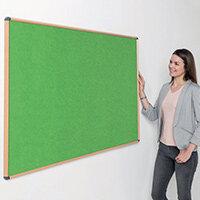 Shield Light Oak Wood Effect Frame Eco-Colour Fire  Resistant Notice Board 900x1200 Apple Green