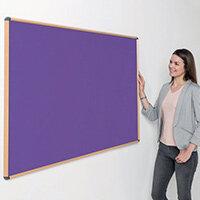 Shield Light Oak Wood Effect Frame Eco-Colour Fire  Resistant Notice Board 900x1200 Purple