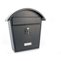 Post Box With Name Plate Window Outward Opening Letter Flap. W364xH380xD134mm. Slot 21 Black