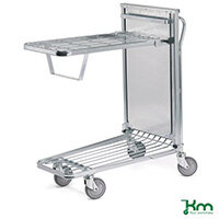 In Store Trolley With Spring Tray 4x135mm Dia Rubber Tyred Swivel Castors 2 Brake
