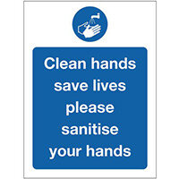 Sign Clean Hands Polycarbonate 150x200